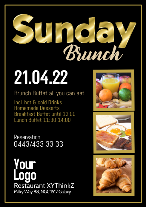 Sunday Brunch Buffet Breakfast Flyer Poster Restaurant Gold