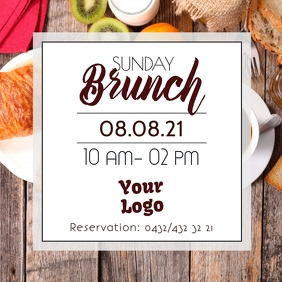 Sunday Brunch Buffet Breakfast Restaurant Bistro Bar Publicação no Instagram template