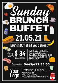 Sunday Brunch Buffet Breakfast Restaurant A4 template