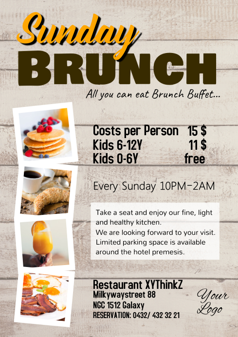 Sunday Brunch Buffet Flyer Breakfast