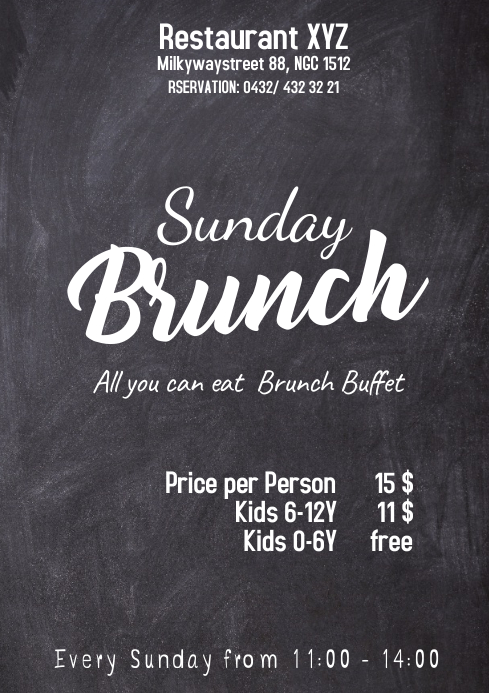 Sunday Brunch Buffet Flyer Chalk Board