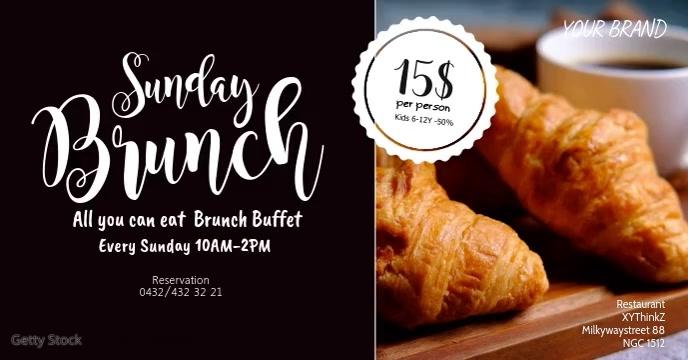 Sunday Brunch Event Cover Header Croissant Facebook-gebeurtenisomslag template