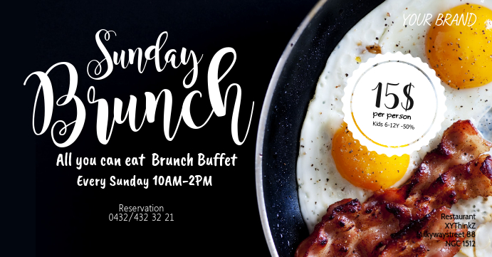 Sunday Brunch Event Cover Header Eggs Bacon template