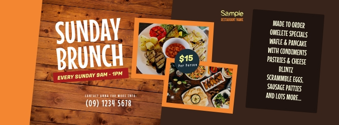 Sunday Brunch Facebook Cover Photo Facebook-omslagfoto template