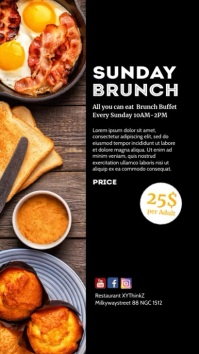 Sunday Brunch story Invitation insta Event template