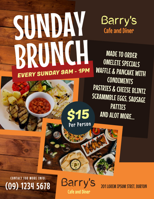 Sunday Brunch Flyer Templates Løbeseddel (US Letter)