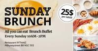 Sunday Brunch Invitation Header Cover Event Imagem partilhada do Facebook template