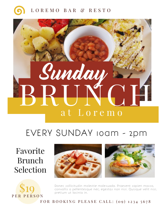 sunday brunch flyer template postermywall