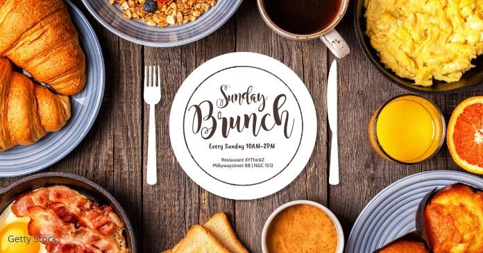 Sunday Brunch template Header cover Breakfast Facebook Shared Image