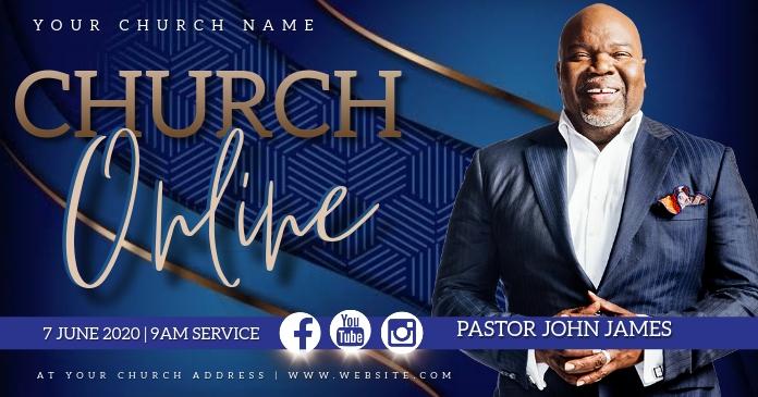 Sunday Church ONLINE Event Flyer Template Gambar Bersama Facebook