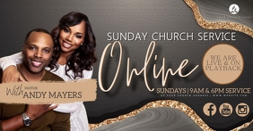 Sunday Church ONLINE Event Flyer Template Facebook Shared Image