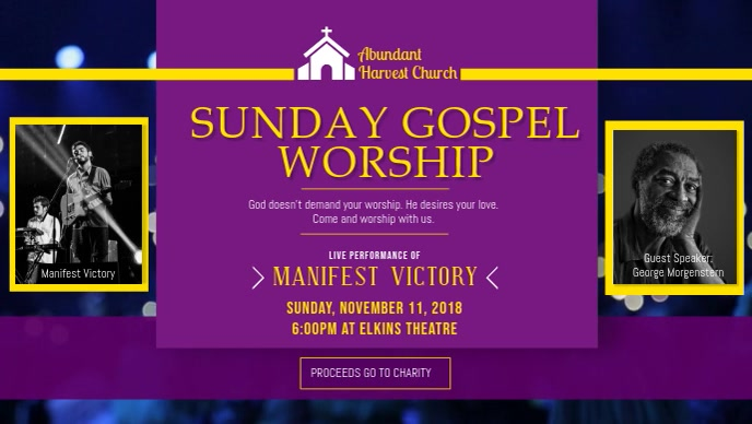 Sunday Gospel Church Event Facebook Cover Video