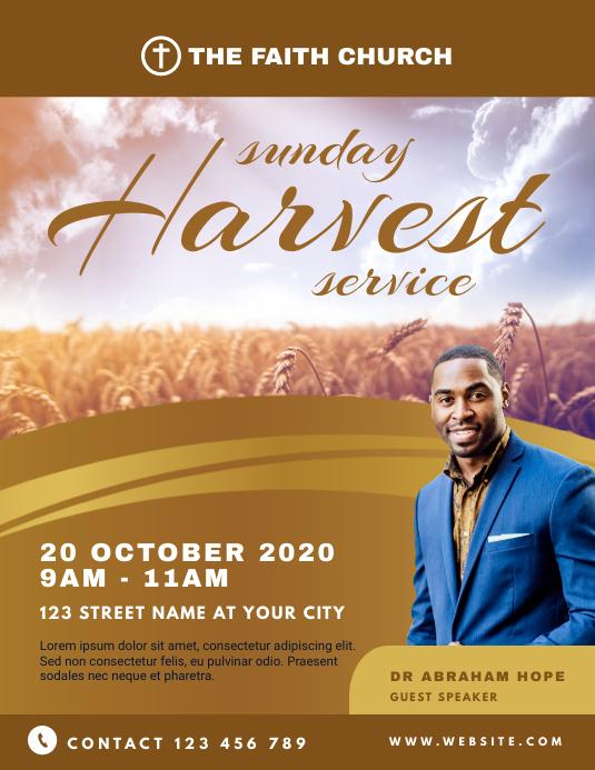 Sunday Harvest Service Church Flyer template