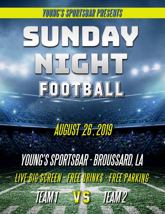 SUNDAY NIGHT FOOTBALL FLYER