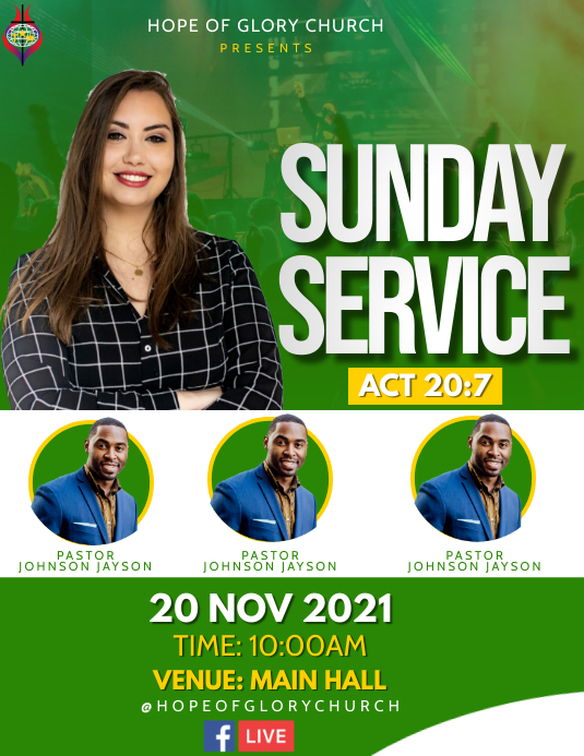 Sunday Service Flyer (US-Letter) template