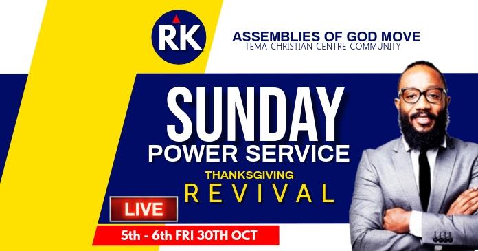 Sunday service flyer delt Facebook-billede template