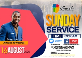 SUNDAY SERVICE FLYER Postcard template