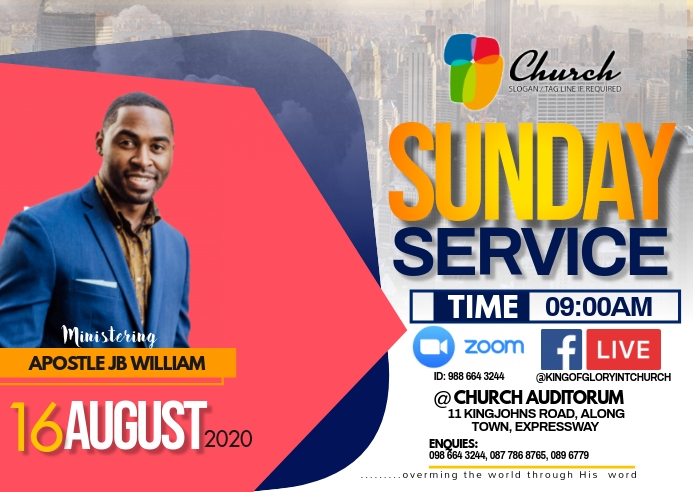 SUNDAY SERVICE FLYER Poskaart template