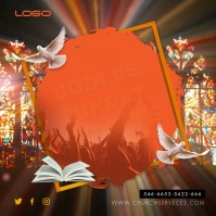 Sunday Service Invitation Slideshow Carré (1:1) template