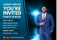 Sunday Service Invited card Postal template
