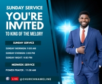 Sunday Service Invited card Rectángulo Mediano template