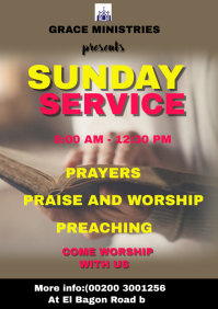 SUNDAY SERVICE POSTER A4 template