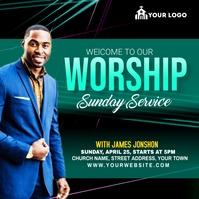 Sunday Service Worship Advert Wpis na Instagrama template