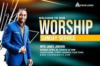 Sunday Service Worship Advert Etykieta template