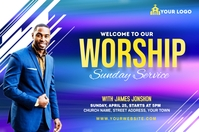 Sunday Service Worship Advert Этикетка template