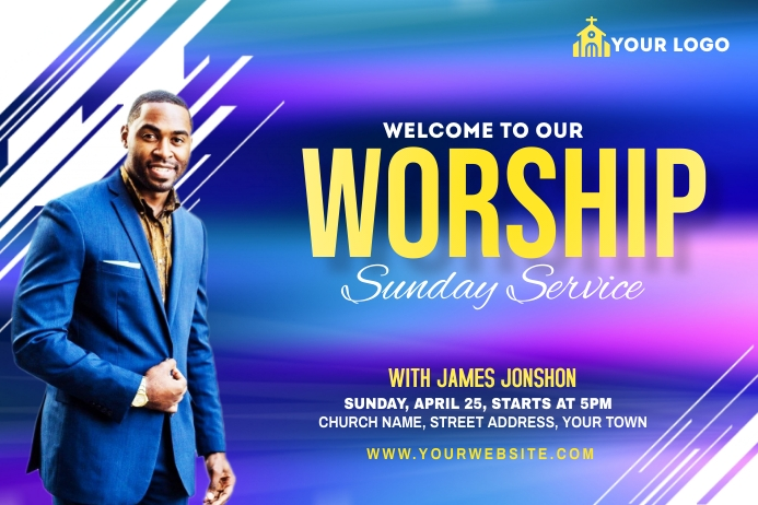 Sunday Service Worship Advert Label template