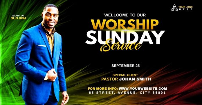 Sunday Service Worship Advert Facebook 广告 template