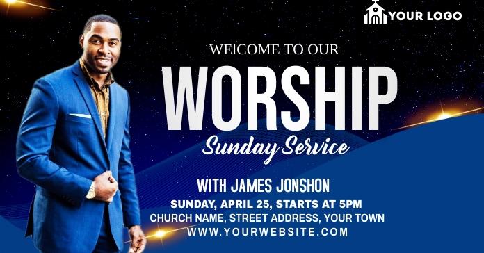 Sunday Service Worship Advert Anuncio de Facebook template
