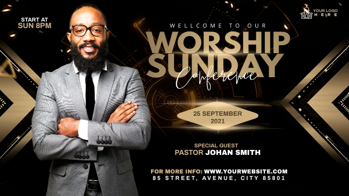 Sunday Service Worship Advert Publicación de Twitter template