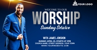 Sunday Service Worship Advert Facebook Advertensie template