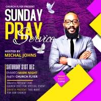 Sunday Service Worship Advert Square (1:1) template