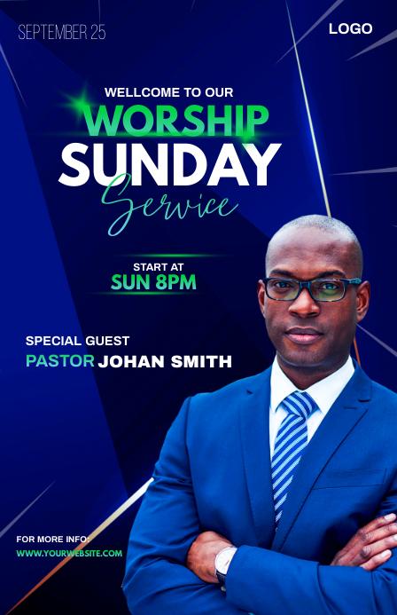Sunday Service Worship Advert Demi-page de format Wide template