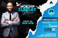 Sunday Service Worship Advert Spanduk 4' × 6' template
