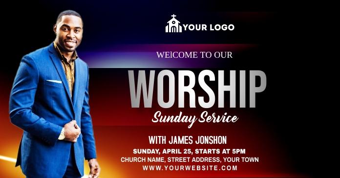 Sunday Service Worship Iklan Facebook template