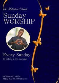 Sunday Worship Invitation Church Praise Event A4 template