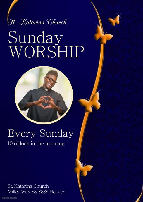 Sunday Worship Invitation Church Praise Event A4 template