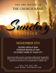Sunday Worship Service Church Event Flyer