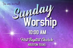 sunday worship video Плакат template