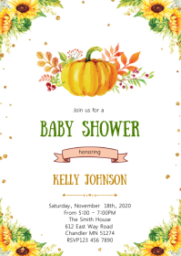 Sunflower Baby shower invitation