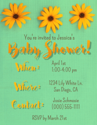 Sunflower Baby Shower Invite