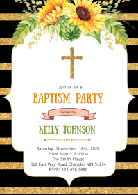 Sunflower baptism party invitation