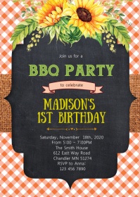 Sunflower bbq birthday invitation