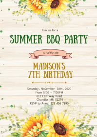 Sunflower birthday party invitation A6 template