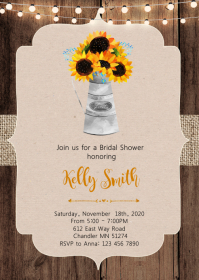 Sunflower bridal shower party invitation