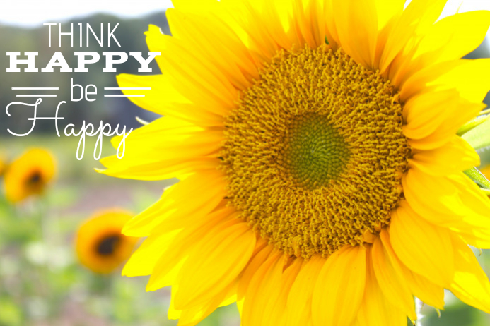 Sunflower Happy Quote Poster Template | PosterMyWall