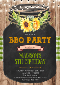 Sunflower Mason jar party invitation